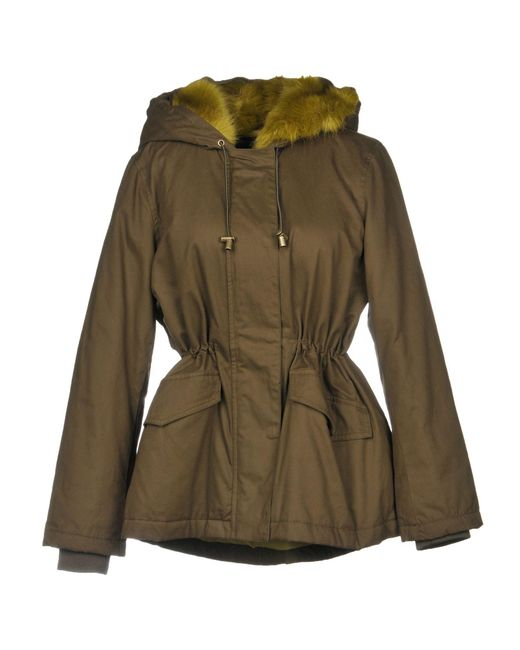 French Connection - Green Coat - Lyst