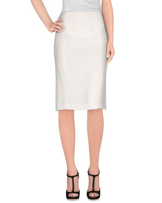laurent knee length skirt in white lyst