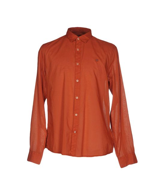 Napapijri - Orange Shirt for Men - Lyst