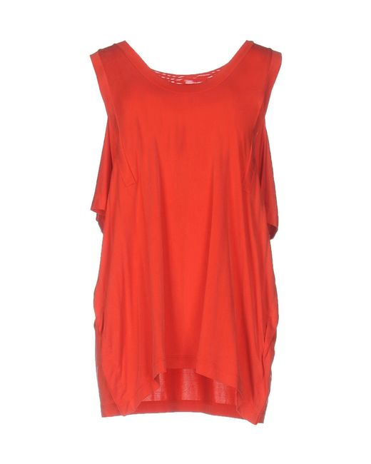 MM6 by Maison Martin Margiela - Red T-shirt - Lyst