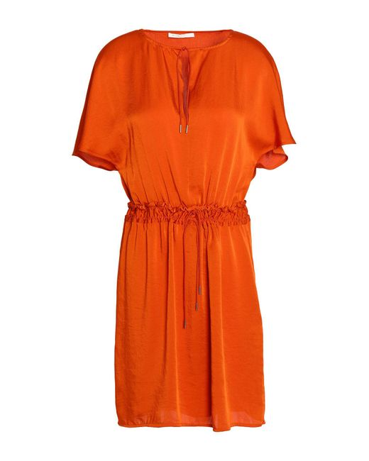 Maje Satin Short Dress In Rust Orange Lyst