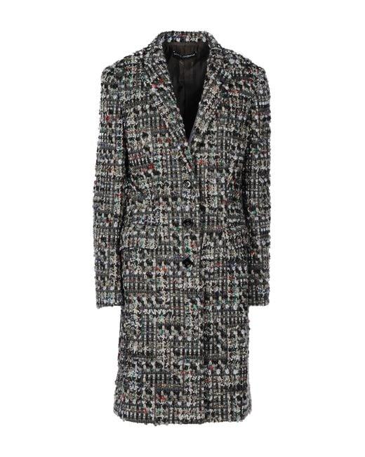 Dolce & Gabbana   Black Woolblend Tweed Coat   Lyst