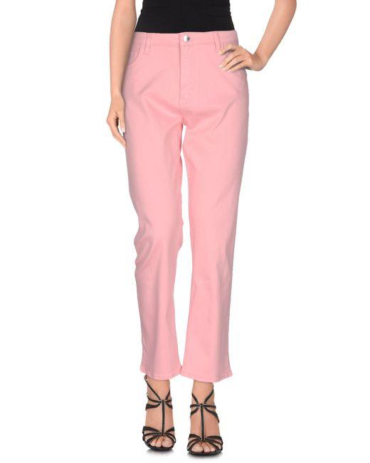 Love Moschino - Pink Denim Trousers - Lyst