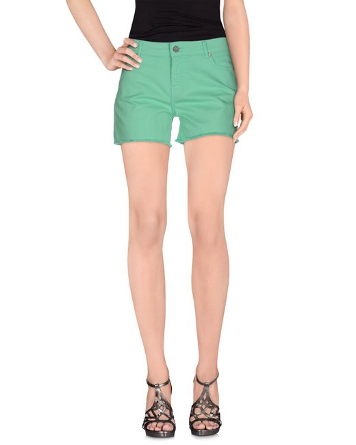 ELEVEN PARIS | Green Denim Shorts | Lyst