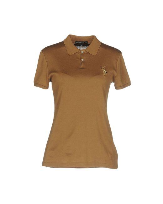 Ralph lauren black label polo shirt in brown lyst for Ralph lauren black label polo shirt