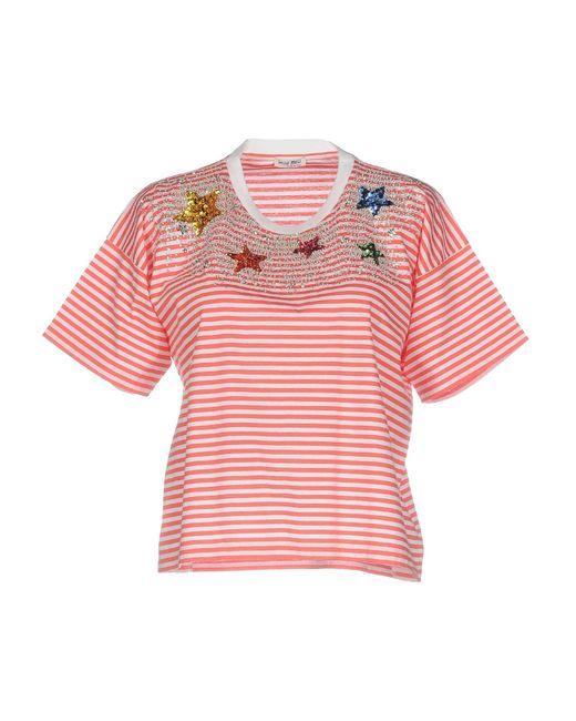Miu miu t shirts in pink lyst for Miu miu t shirt