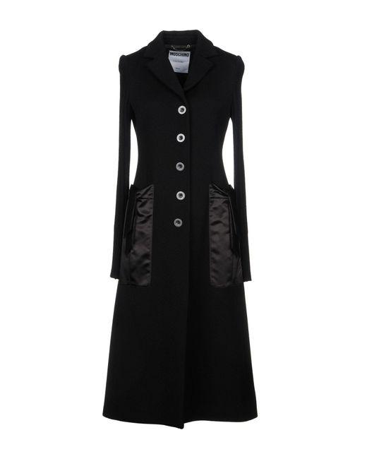 Moschino - Black Overcoat - Lyst