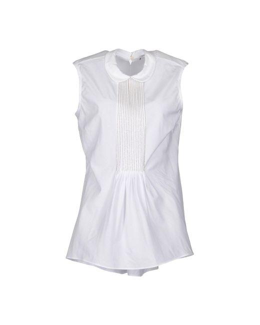 Brunello Cucinelli - White Sleeveless Shirt - Lyst