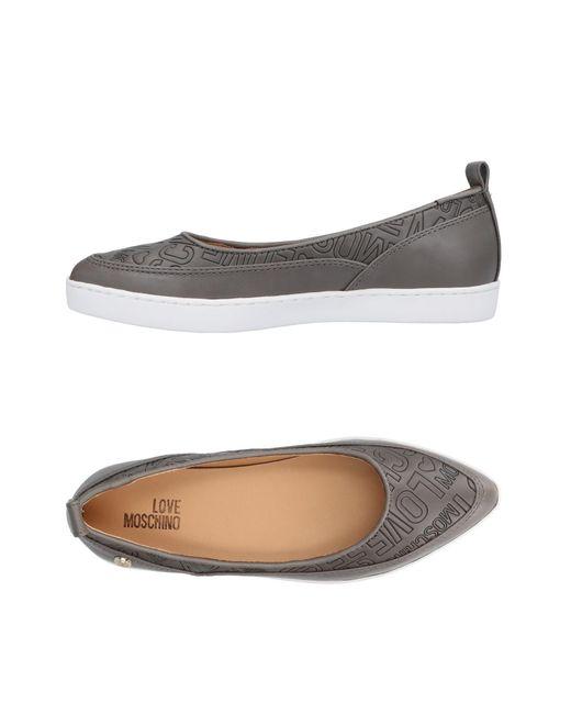 Love Moschino - Gray Ballet Flats - Lyst