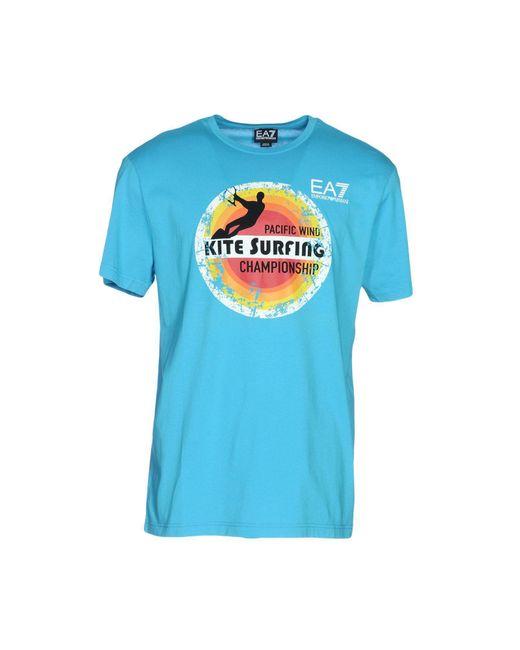 EA7 - Blue T-shirt for Men - Lyst