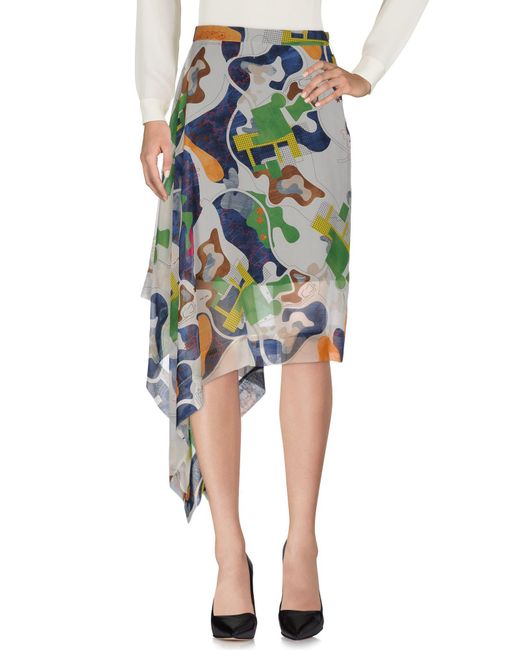 MSGM - Gray Knee Length Skirt - Lyst