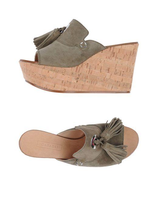 Casadei | Green Sandals | Lyst