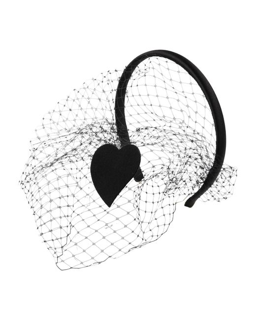 RED Valentino - Black Heart Patch On Satin Headband With Veil - Lyst