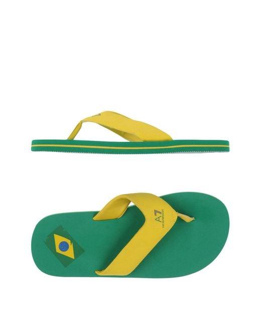 EA7 - Yellow Toe Post Sandal for Men - Lyst
