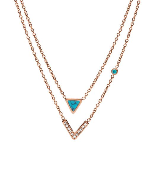 Fossil - Metallic Necklace - Lyst