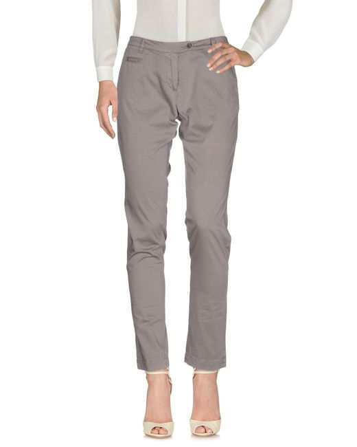 AT.P.CO - Gray Casual Pants - Lyst