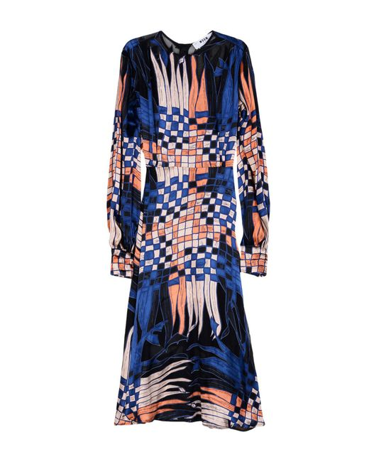 MSGM - Blue 3/4 Length Dress - Lyst