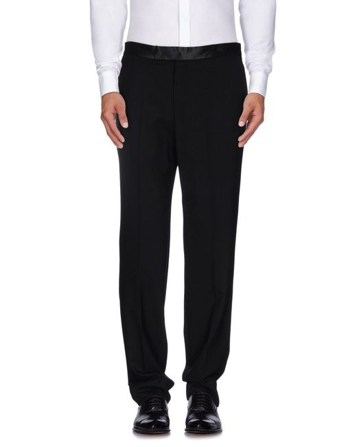 Alexander McQueen - Black Single Crepe Contrast Waistband Trousers for Men - Lyst
