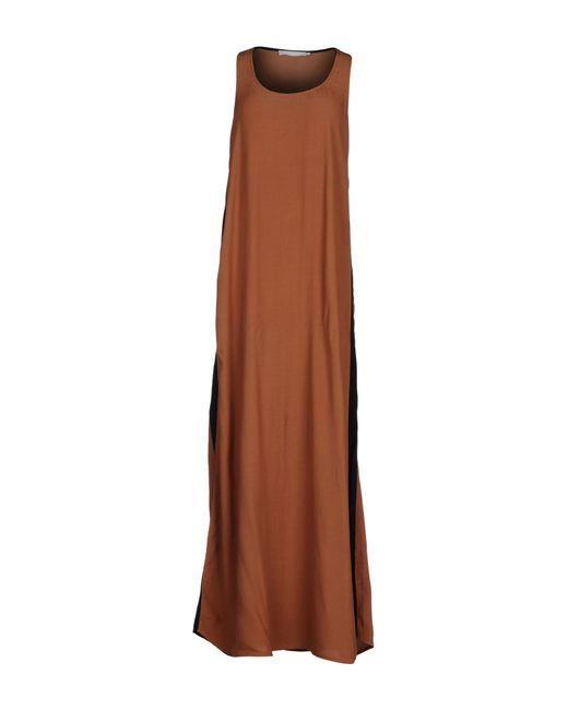 Stefanel - Brown Long Dress - Lyst