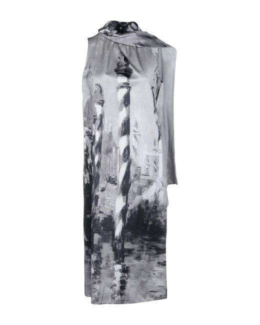 Alberta Ferretti - Gray Knee-length Dress - Lyst