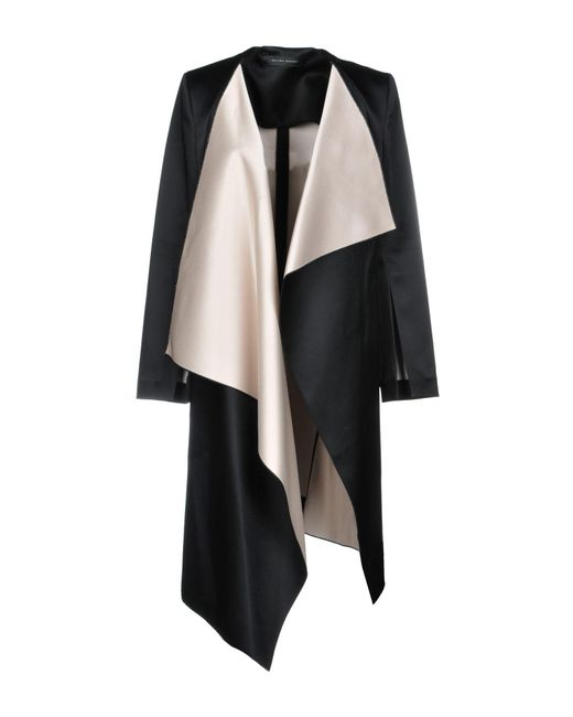 Roland Mouret - Black Studhan Draped Satin Open-front Coat With Contrast Lining - Lyst