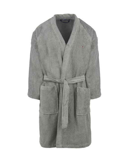 Tommy Hilfiger Towelling Dressing Gown in Gray for Men - Lyst