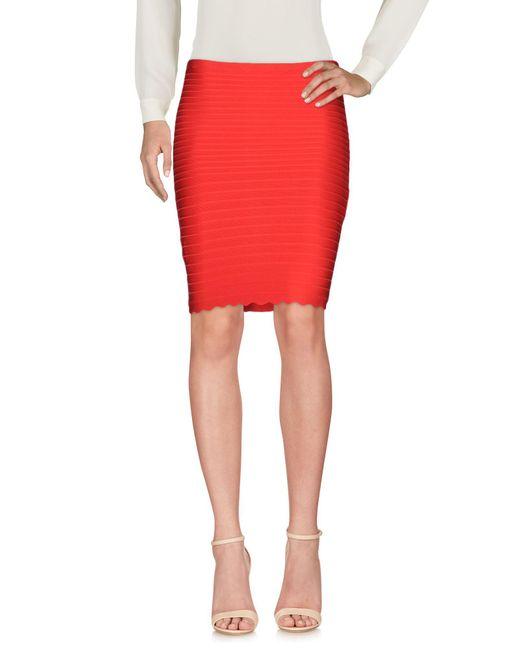 Hervé Léger - Red Knee Length Skirts - Lyst