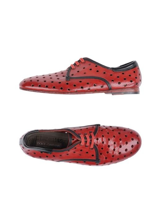 Dolce & Gabbana Red Lace-up Shoe for men