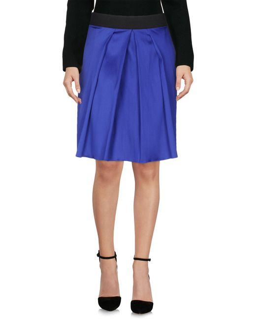 Satine Label   Blue Knee Length Skirt   Lyst