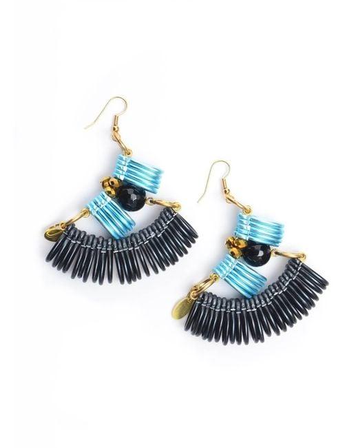 Kirsty Ward | Light Blue & Black Curve Earrings | Lyst