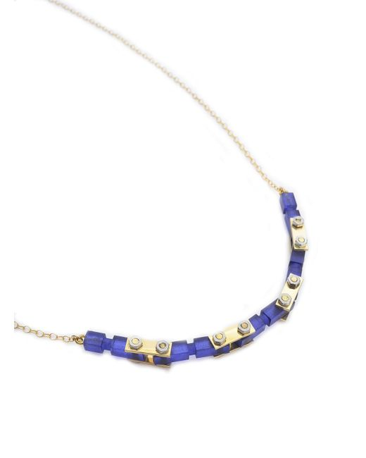 Lily Kamper | Blue Navy Frosted Gold Mechanic Necklace | Lyst