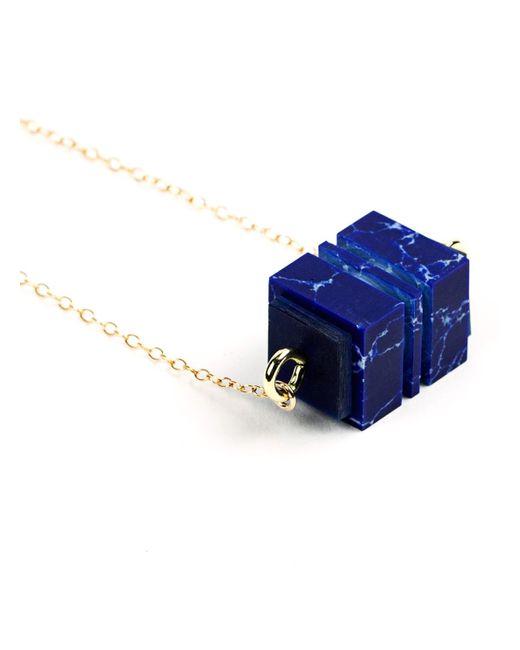 Lily Kamper - Azure Blue Cube Pendant - Lyst