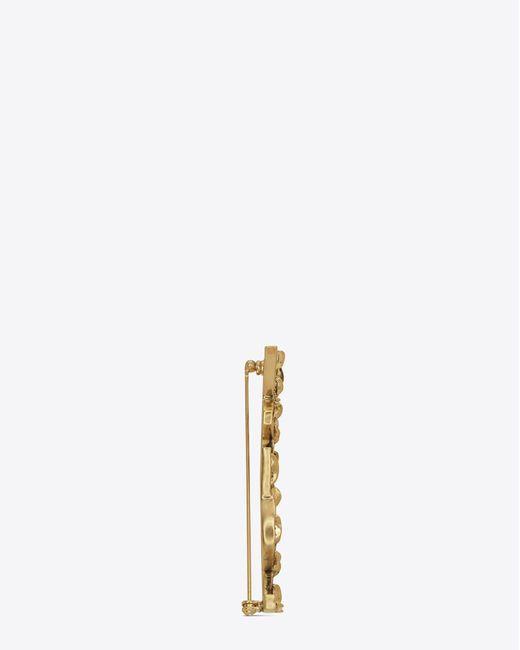 Saint Laurent - Metallic Opyum Ysl Crocodile Brooch In Gold Brass - Lyst