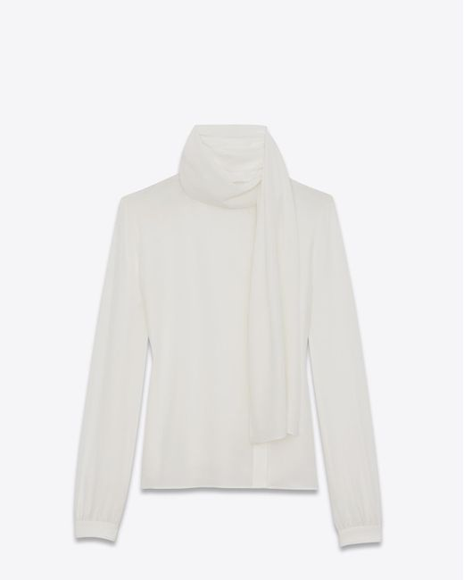 Saint Laurent | White Scarf Blouse In Shell Silk Crêpe | Lyst