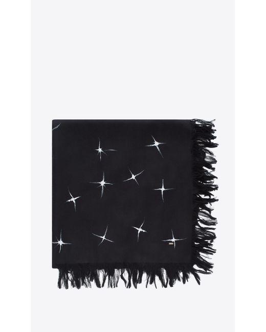 Saint Laurent - Black Foulard à imprimé étoiles filantes en chappe de soie noire et ivoire for Men - Lyst