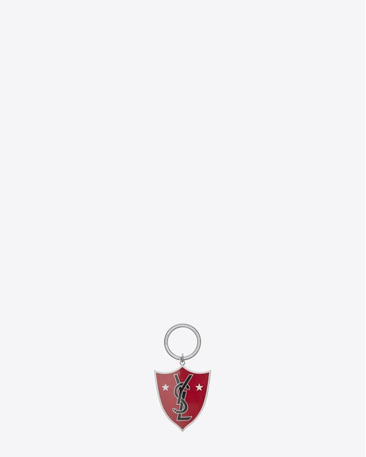 Saint Laurent | Metallic Ysl Shield Key Ring In Red And Black Enamel And Silver-toned Metal | Lyst