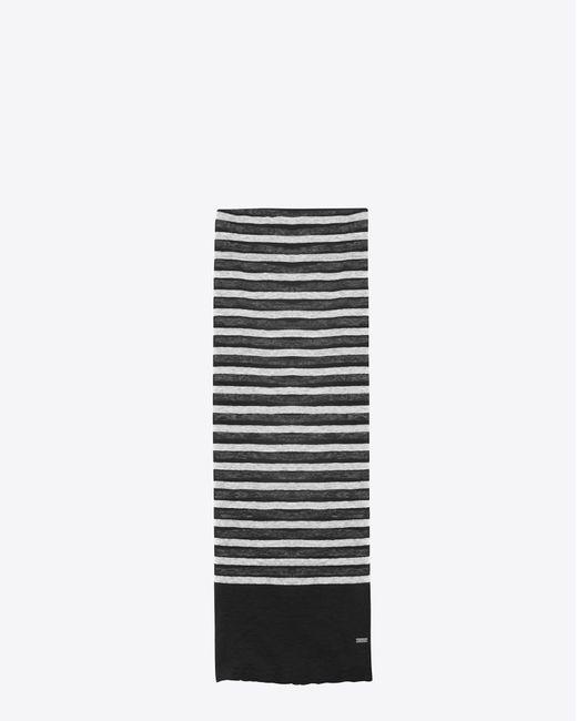 Saint Laurent - Black Écharpe à maille marinière en jersey de lin et soie noir et ivoire for Men - Lyst