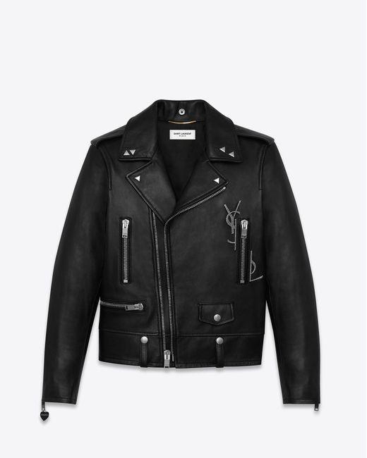 Saint Laurent Classic Black Ysl Motorcycle Jacket In Black