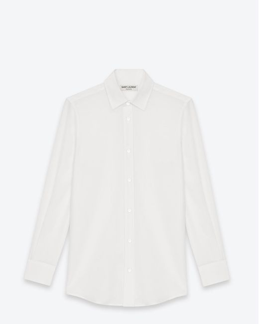 Saint Laurent - Paris Collar Shirt In White Silk Crêpe - Lyst