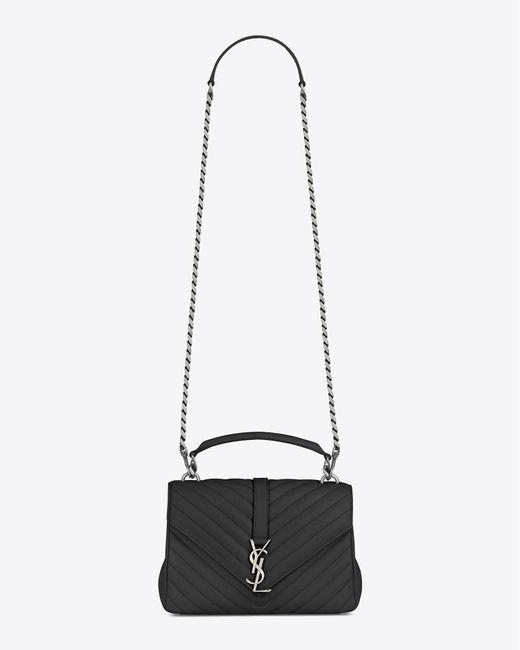 5caa8d08afd8 ... Saint Laurent - Black Monogram College Medium Quilted Leather Shoulder  Bag - Lyst ...