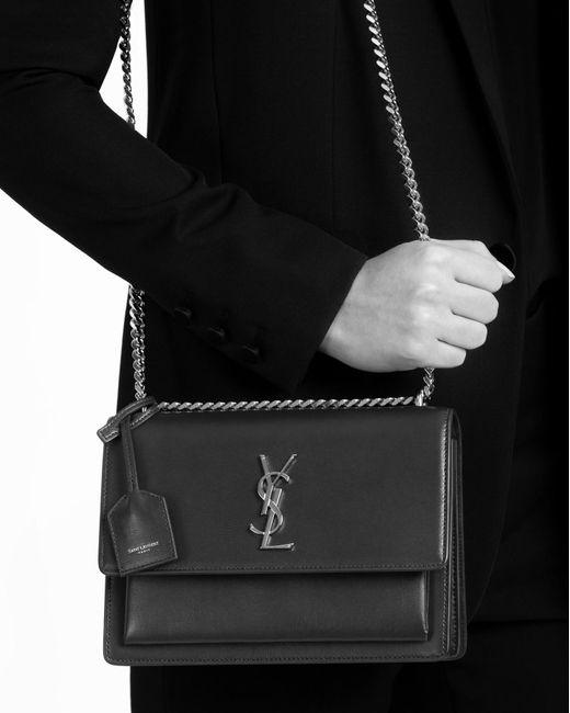 Saint Laurent Medium Sunset Bag In Black In Black Lyst