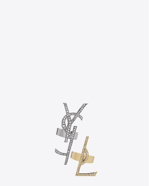 Saint Laurent | Gray Monogram Set Of Deconstructed Rings In Gunmetal, Gold Brass And Clear Crystal | Lyst