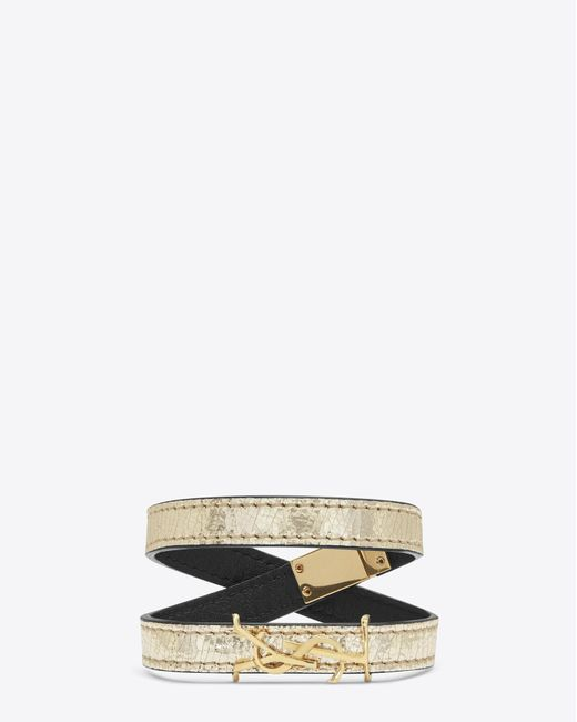 Saint Laurent   Metallic Monogram Double Wrap Bracelet In Cracked Leather And Gold-toned Leather   Lyst