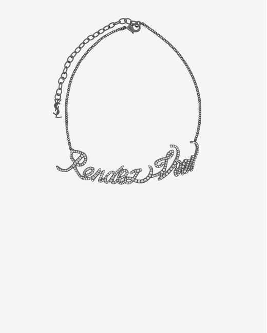 """Saint Laurent - Metallic """"rendez-vous"""" Chain Choker In Silver-toned Brass And Crystals - Lyst"""