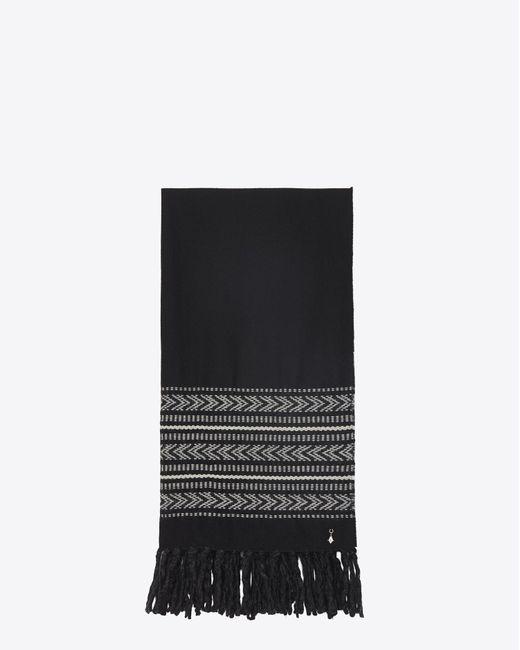 Saint Laurent - Black Étole ikat en jacquard de laine et coton noir et ivoire for Men - Lyst