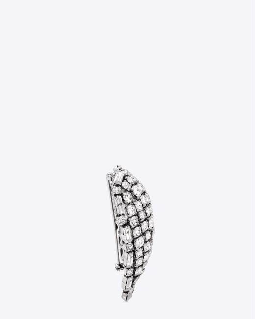 Saint Laurent - Metallic Smoking Heart Brooch In Silver And Clear - Lyst