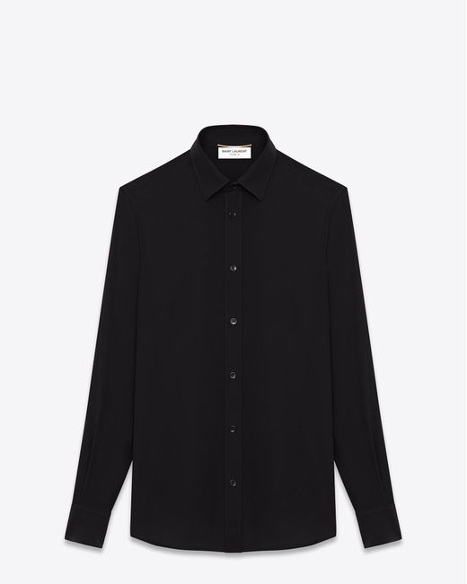 Saint Laurent - Paris Collar Shirt In Black Silk Crêpe - Lyst