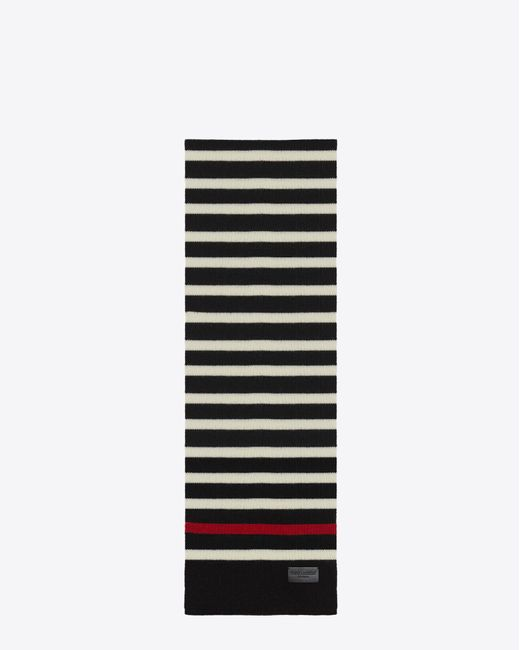 Saint Laurent | Marin Scarf In Black And White Knit Wool | Lyst