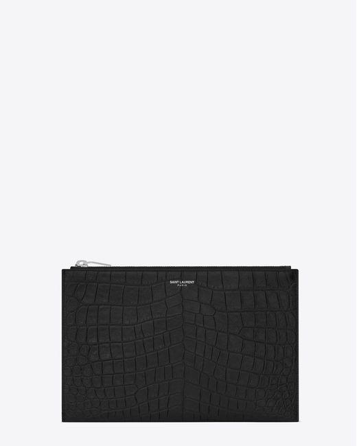 Saint Laurent - Paris Zipped Mini Tablet Sleeve In Black Crocodile Embossed Leather for Men - Lyst