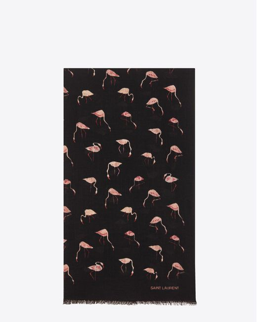 Saint Laurent | Scarf In Black And Pink Flamingo Printed Wool Twill | Lyst